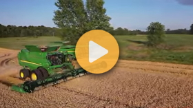 Wheat harvest underway with Deere equipment