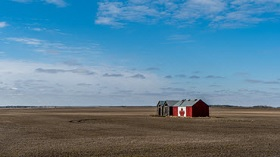 Barn with Canadian flag