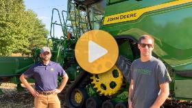 John Deere X9 in early corn